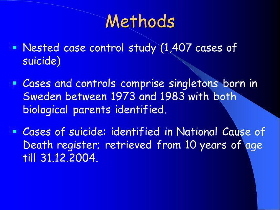 Methods Nested case control study (1,407 cases of suicide)
