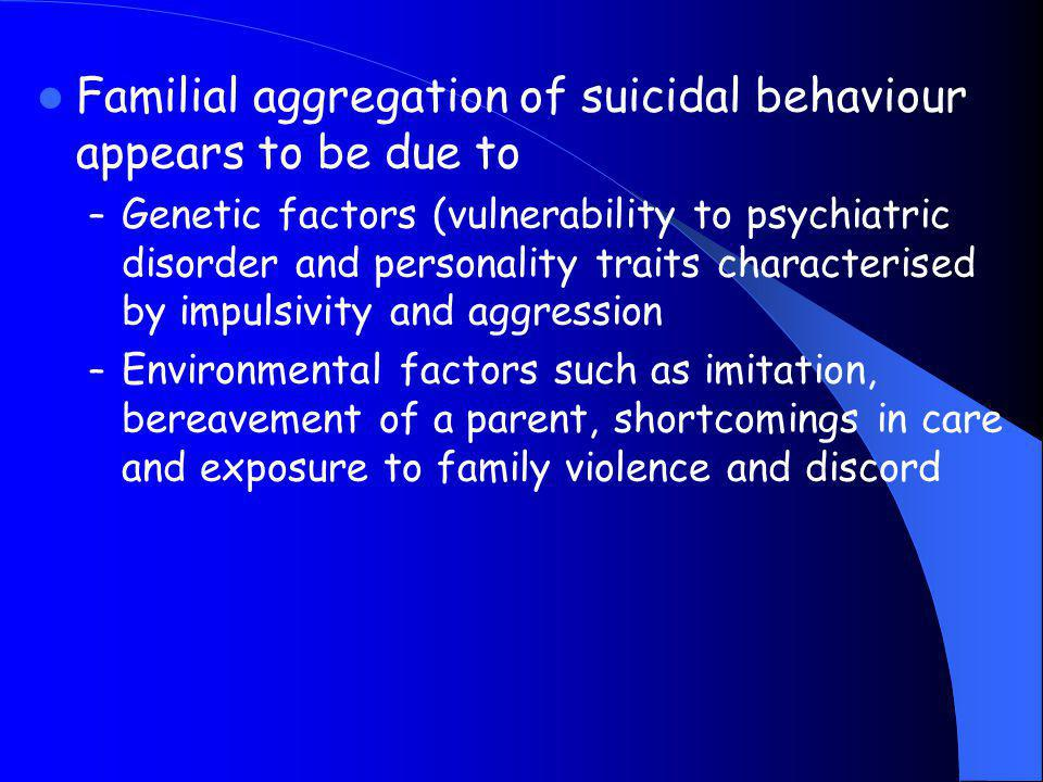 Familial aggregation of suicidal behaviour appears to be due to