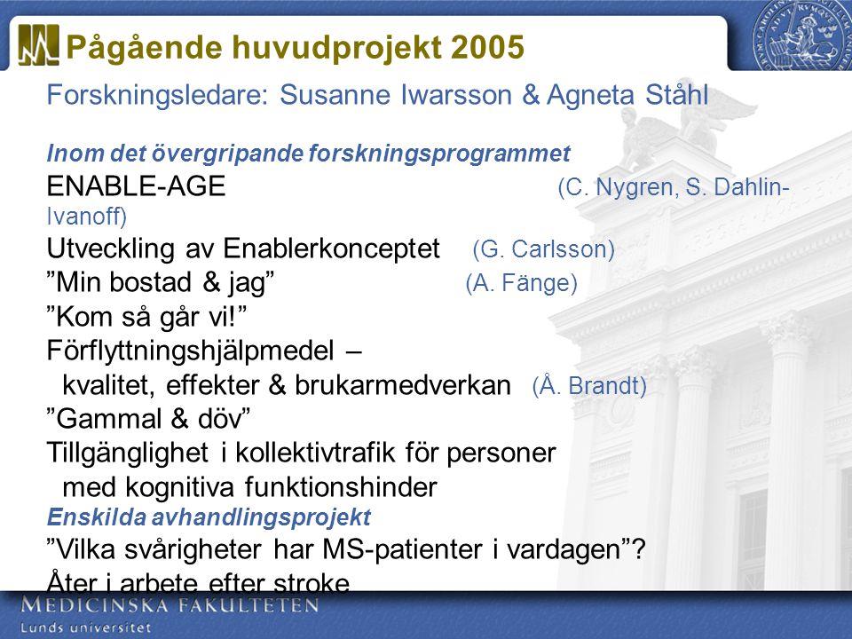 Pågående huvudprojekt 2005