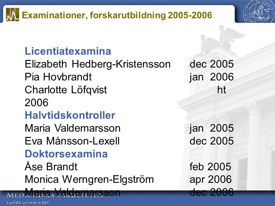 Examinationer, forskarutbildning 2005-2006