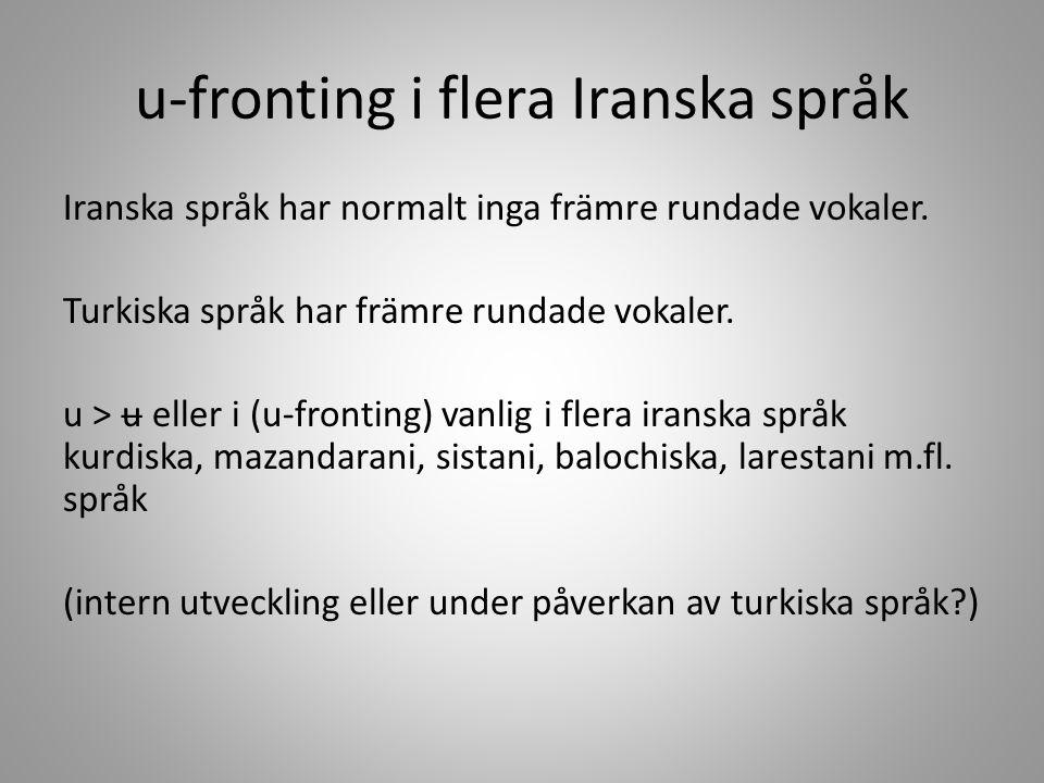 u-fronting i flera Iranska språk
