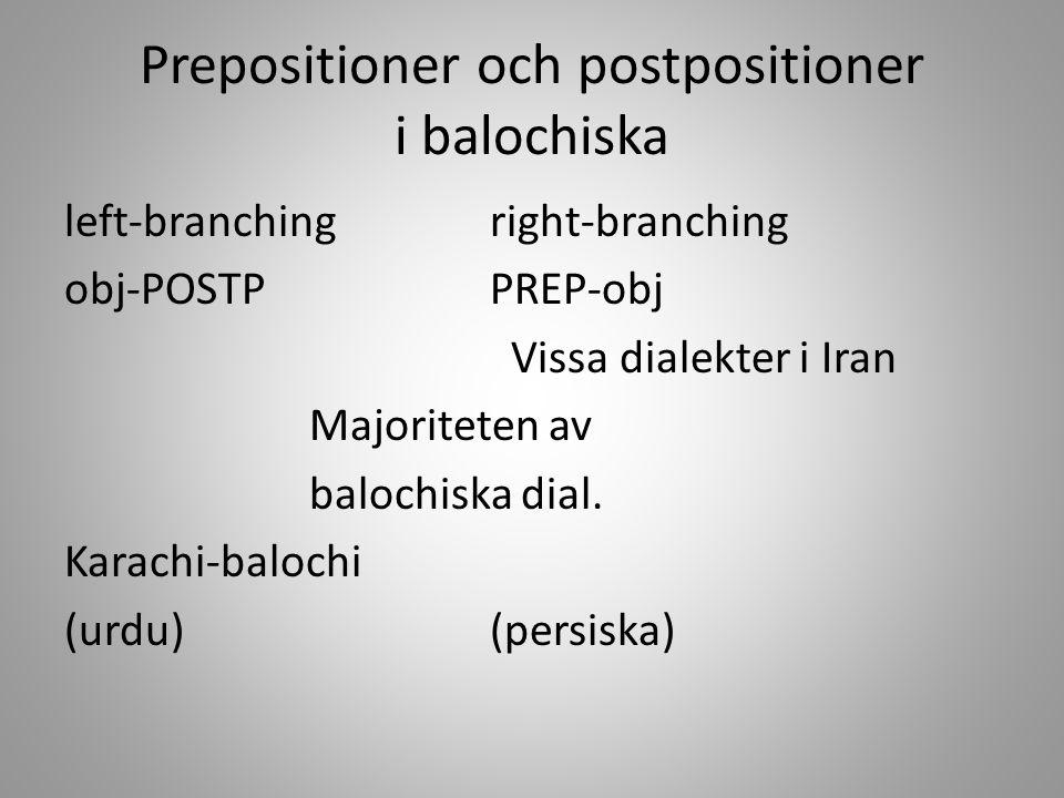 Prepositioner och postpositioner i balochiska