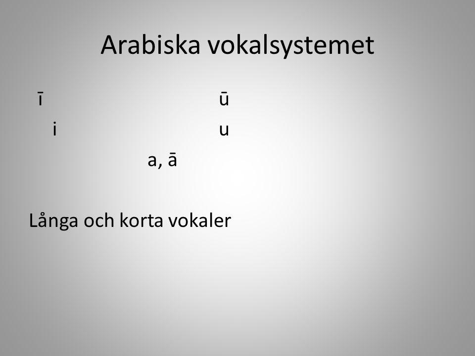 Arabiska vokalsystemet