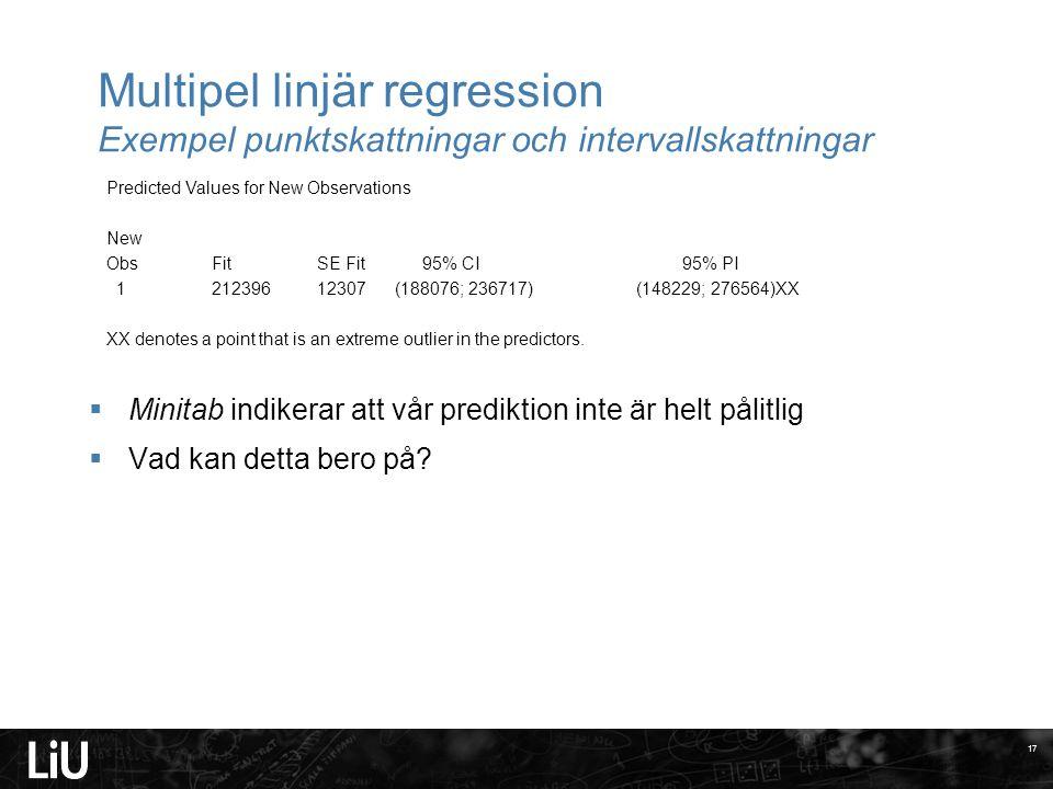 Multipel linjär regression Exempel punktskattningar och intervallskattningar