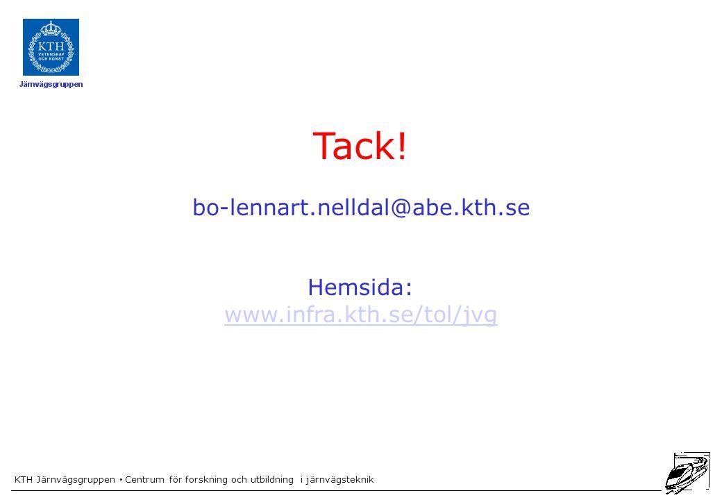 Tack! bo-lennart.nelldal@abe.kth.se Hemsida: www.infra.kth.se/tol/jvg