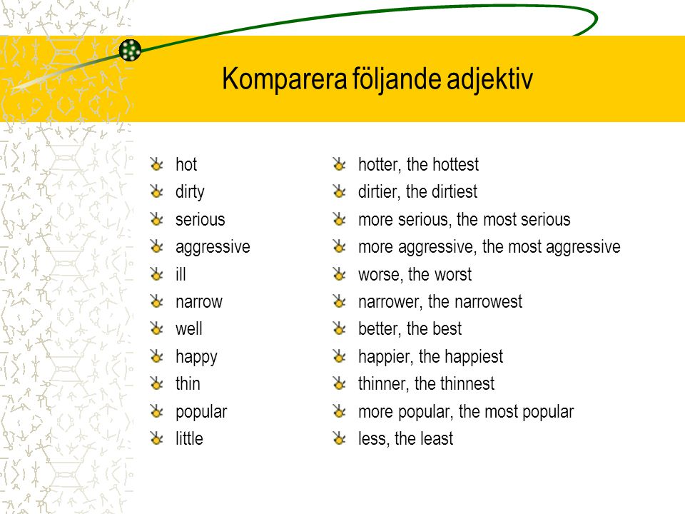 Komparera följande adjektiv