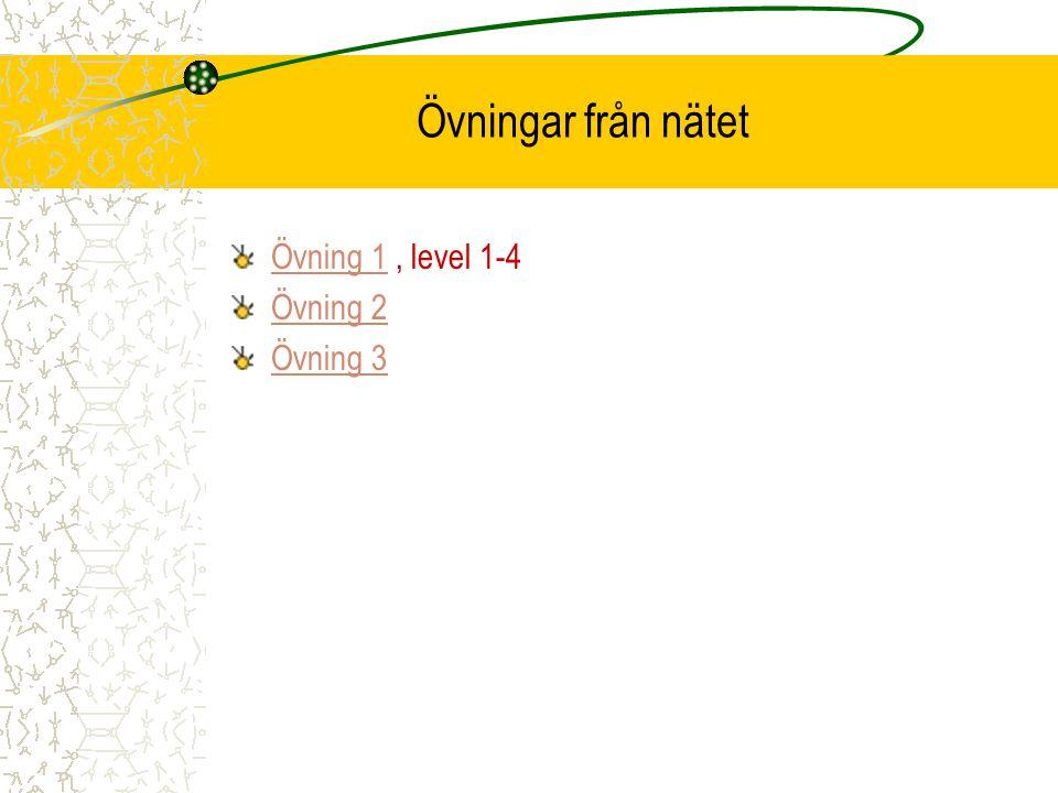 Övningar från nätet Övning 1 , level 1-4 Övning 2 Övning 3