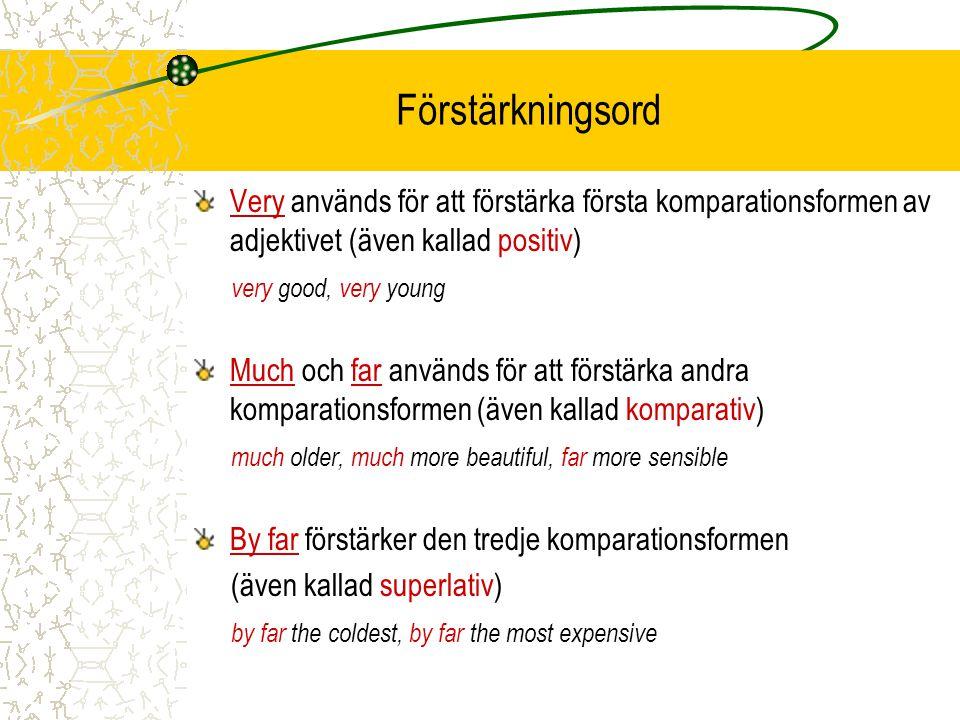 Förstärkningsord Very används för att förstärka första komparationsformen av adjektivet (även kallad positiv)