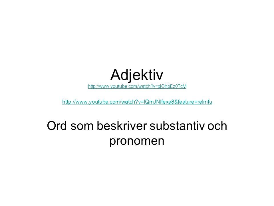 Ord som beskriver substantiv och pronomen