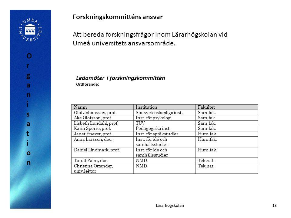 Organisation Forskningskommitténs ansvar