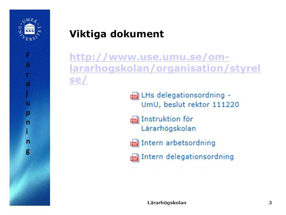Viktiga dokument http://www.use.umu.se/om-lararhogskolan/organisation/styrelse/ Fördjupning.