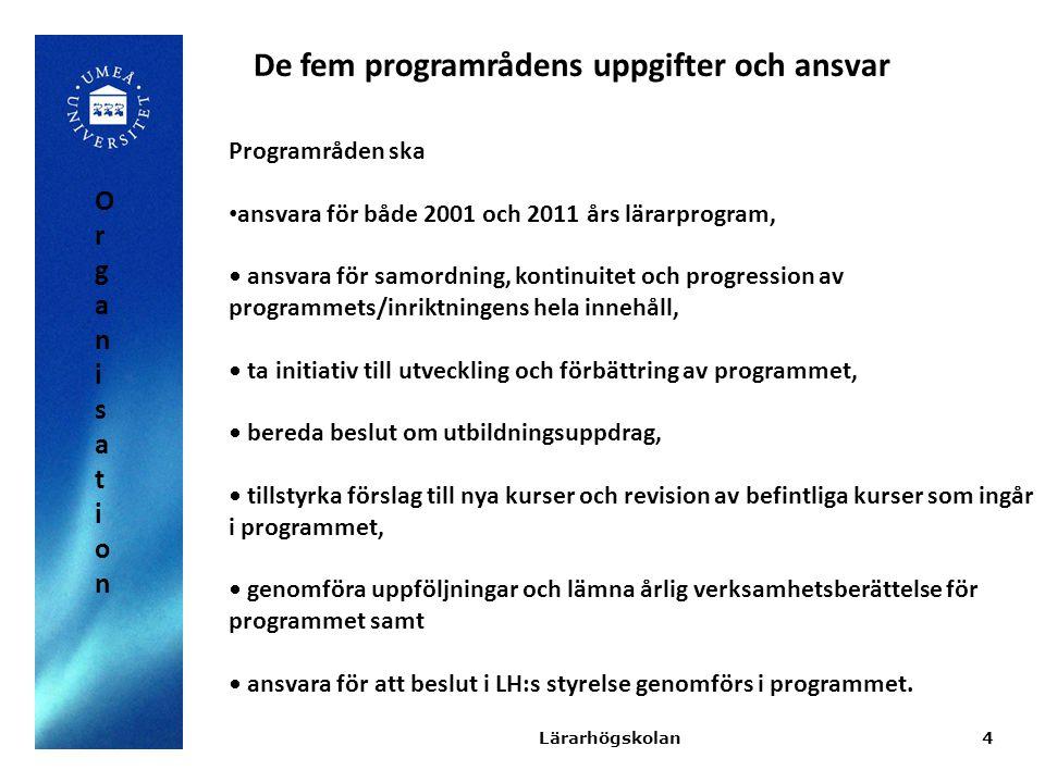 De fem programrådens uppgifter och ansvar