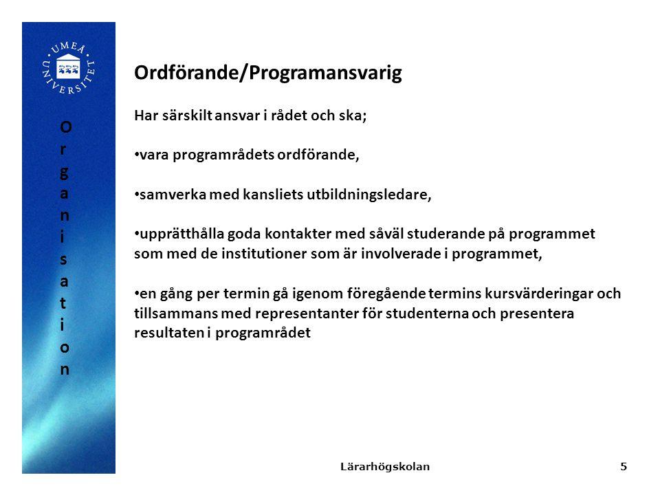 Ordförande/Programansvarig
