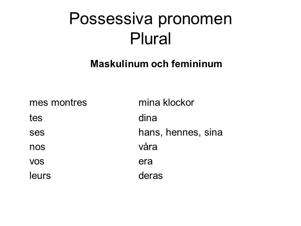 Possessiva pronomen Plural