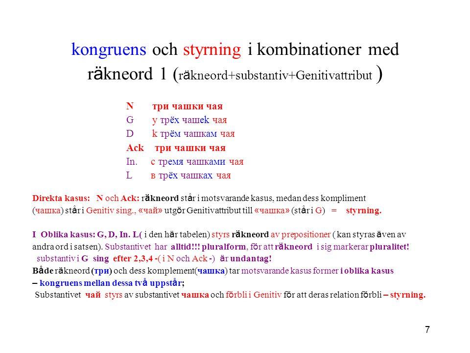 kongruens och styrning i kombinationer med räkneord 1 (räkneord+substantiv+Genitivattribut )