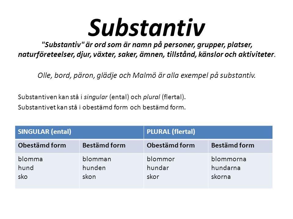 Olle, bord, päron, glädje och Malmö är alla exempel på substantiv.