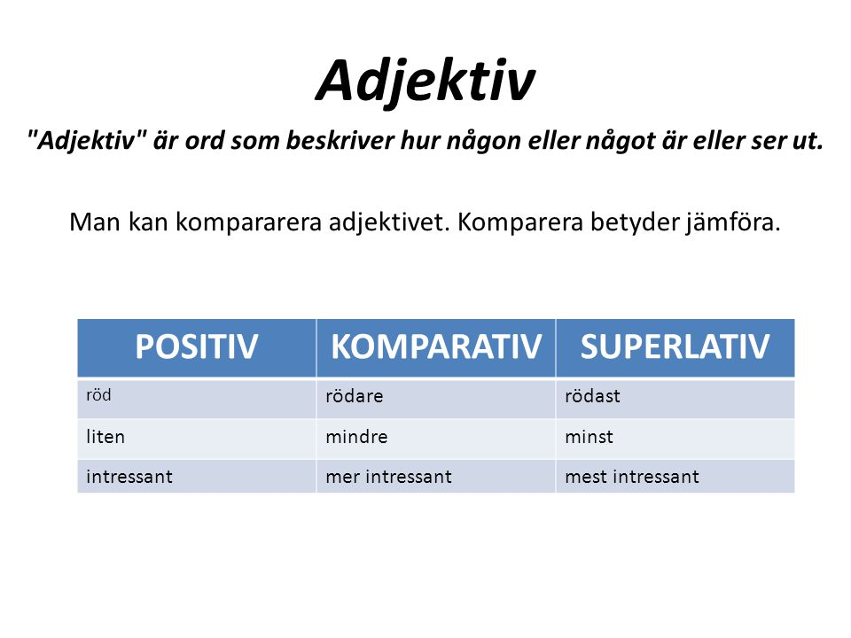 Adjektiv POSITIV KOMPARATIV SUPERLATIV