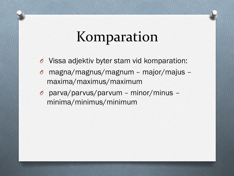 Komparation Vissa adjektiv byter stam vid komparation:
