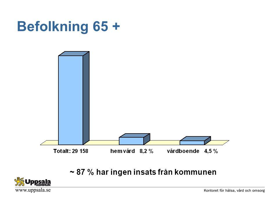 Befolkning 65 + ~ 87 % har ingen insats från kommunen