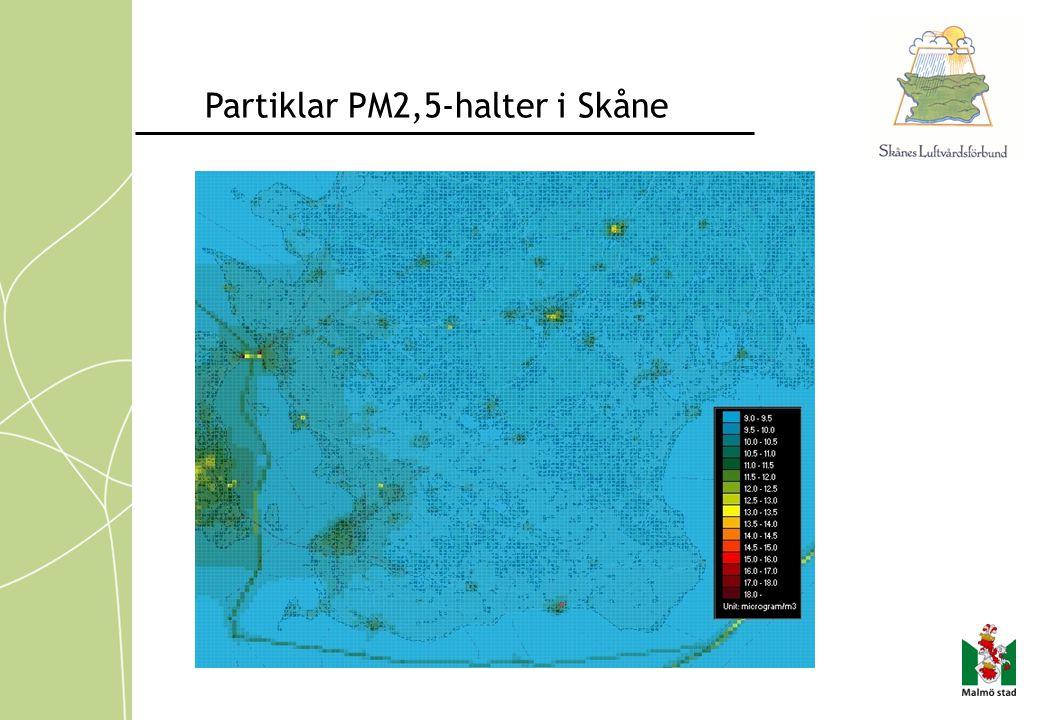 Partiklar PM2,5-halter i Skåne