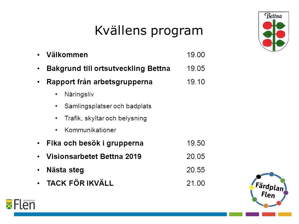 Kvällens program Välkommen 19.00