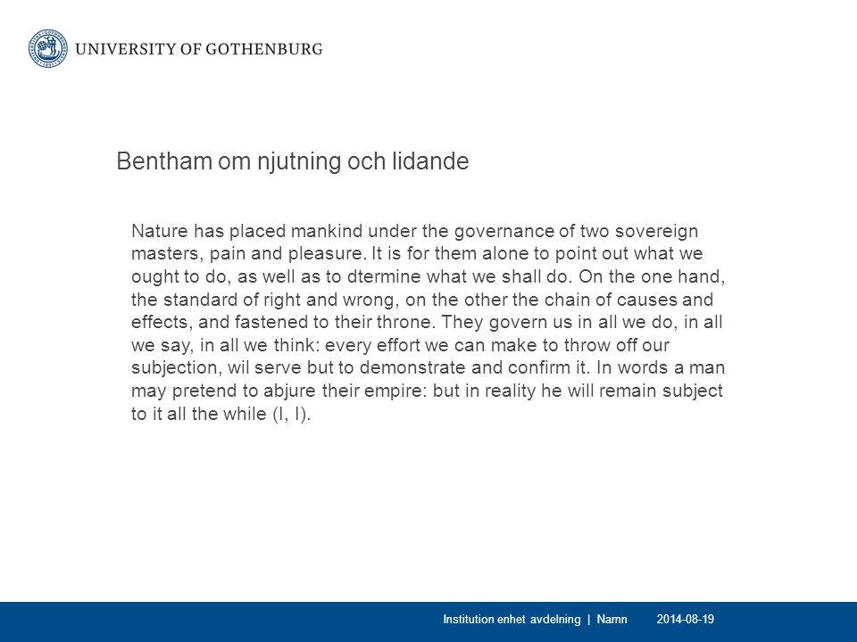 Bentham om njutning och lidande