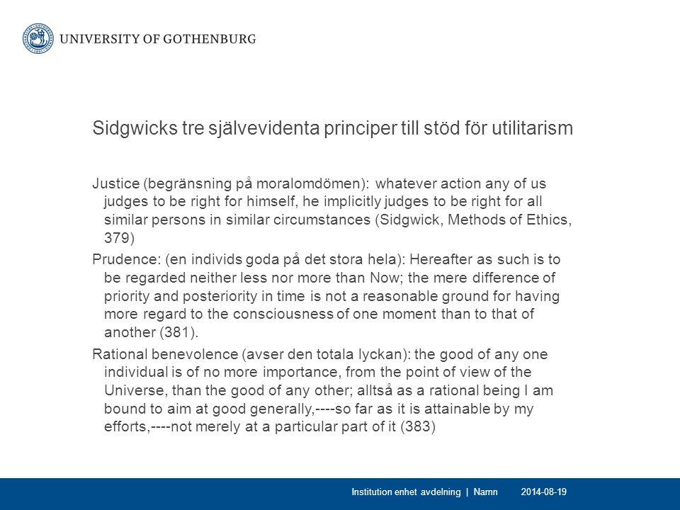 Sidgwicks tre självevidenta principer till stöd för utilitarism