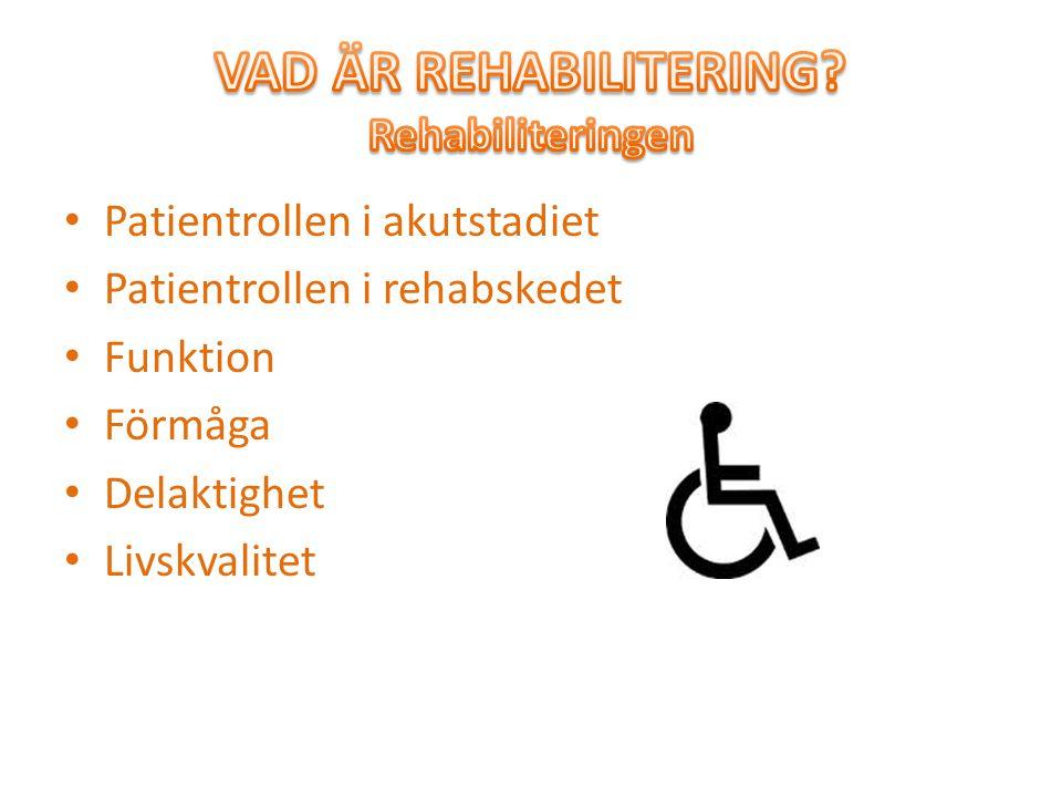 VAD ÄR REHABILITERING Rehabiliteringen