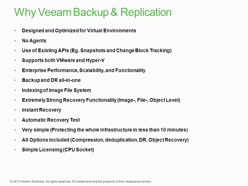 Why Veeam Backup & Replication