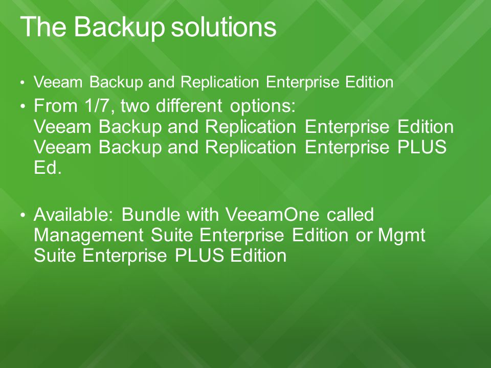 The Backup solutions Veeam Backup and Replication Enterprise Edition.
