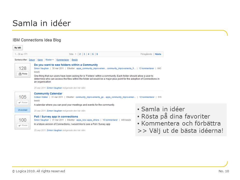 Samla in idéer Samla in idéer Rösta på dina favoriter