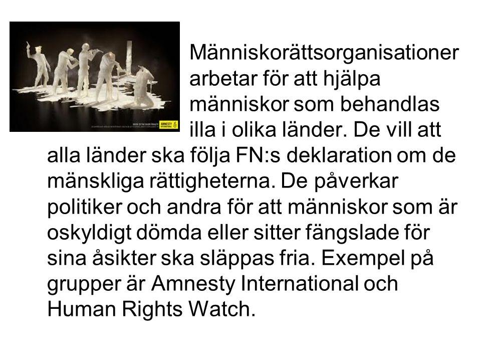 Människorättsorganisationer arbetar för att hjälpa människor som behandlas illa i olika länder.