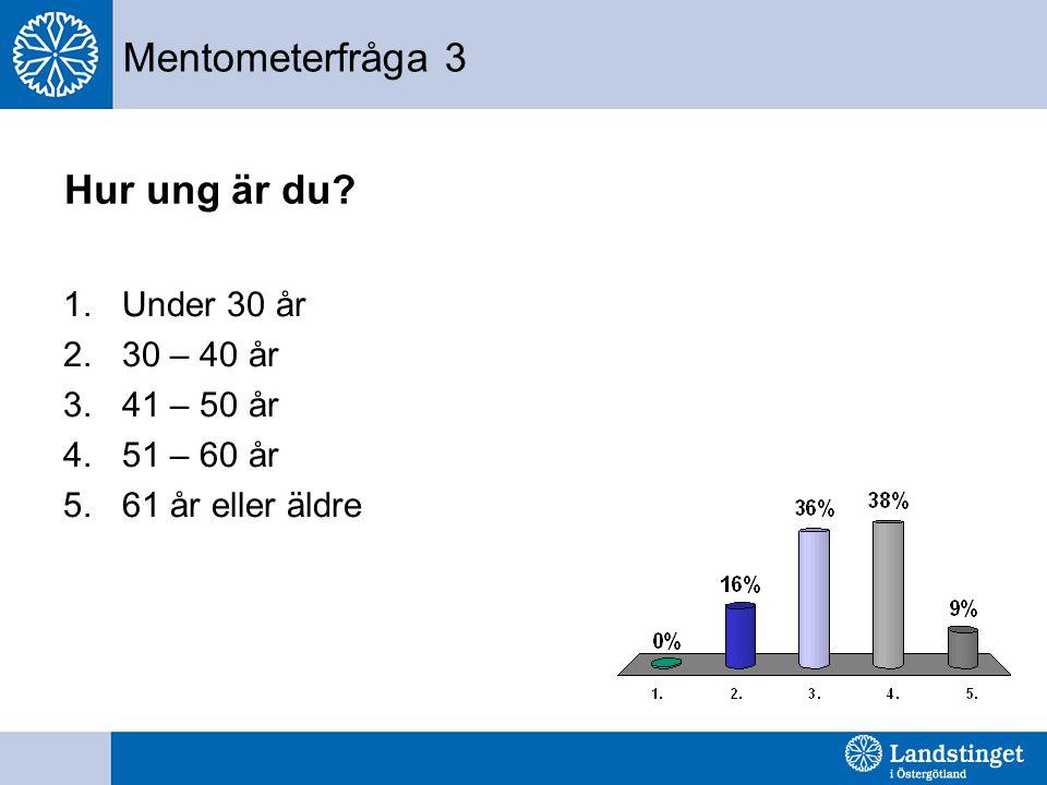 Mentometerfråga 3 Hur ung är du Under 30 år 30 – 40 år 41 – 50 år