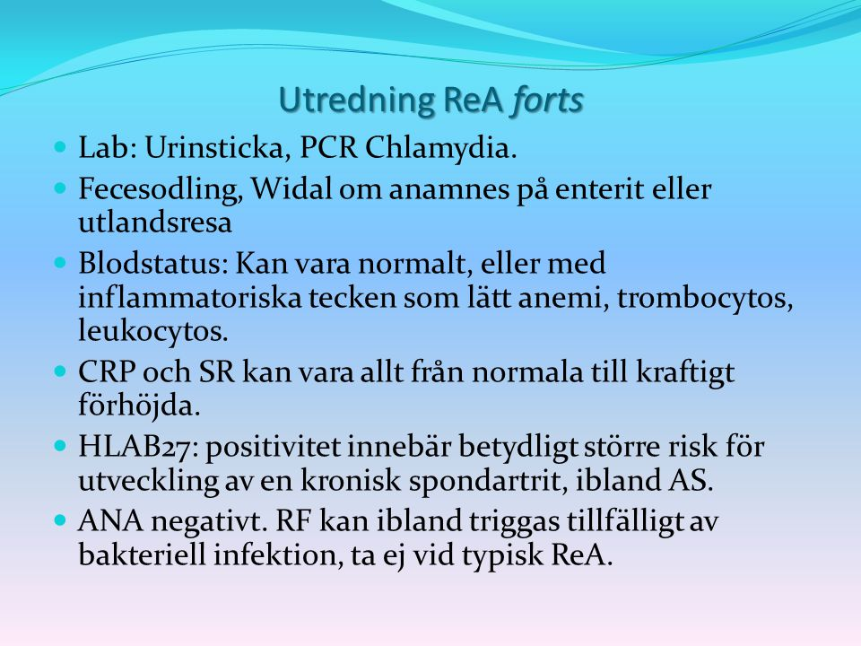 Utredning ReA forts Lab: Urinsticka, PCR Chlamydia.