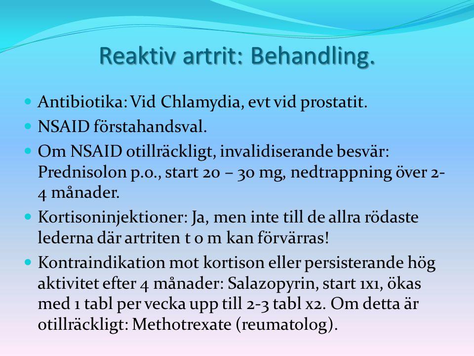 Reaktiv artrit: Behandling.