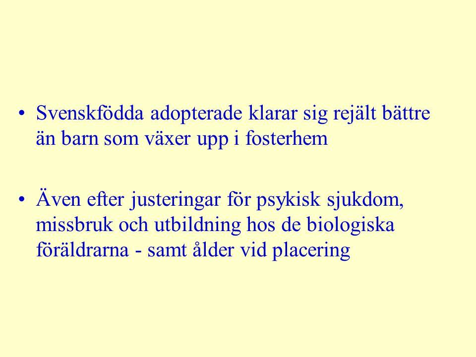 Svenskfödda adopterade klarar sig rejält bättre än barn som växer upp i fosterhem