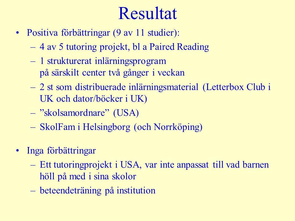 Resultat Positiva förbättringar (9 av 11 studier):