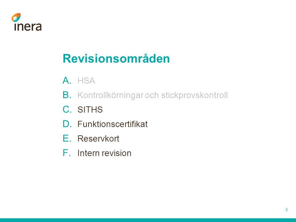 Revisionsområden HSA Kontrollkörningar och stickprovskontroll SITHS