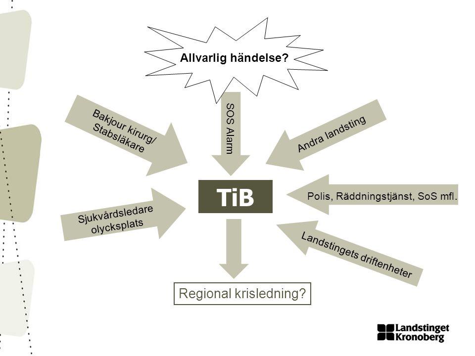 TiB Regional krisledning Allvarlig händelse Bakjour kirurg/