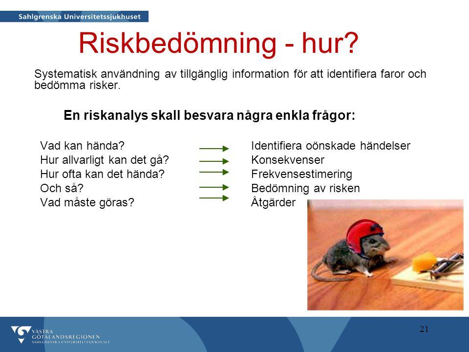 Riskbedömning - hur En riskanalys skall besvara några enkla frågor: