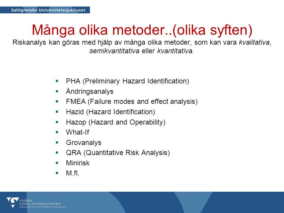 Många olika metoder..(olika syften) Riskanalys kan göras med hjälp av många olika metoder, som kan vara kvalitativa, semikvantitativa eller kvantitativa.
