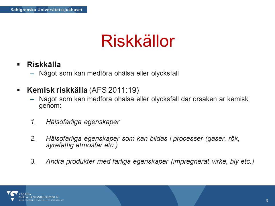 Riskkällor Riskkälla Kemisk riskkälla (AFS 2011:19)