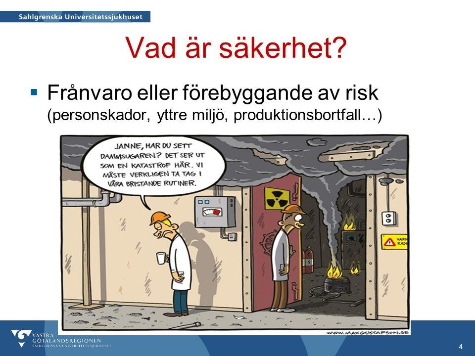 Vad är säkerhet Frånvaro eller förebyggande av risk (personskador, yttre miljö, produktionsbortfall…)