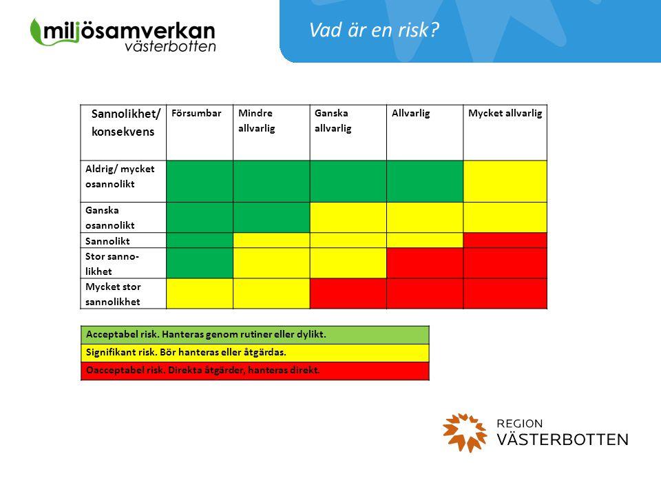 Vad är en risk Sannolikhet/ konsekvens Försumbar Mindre allvarlig