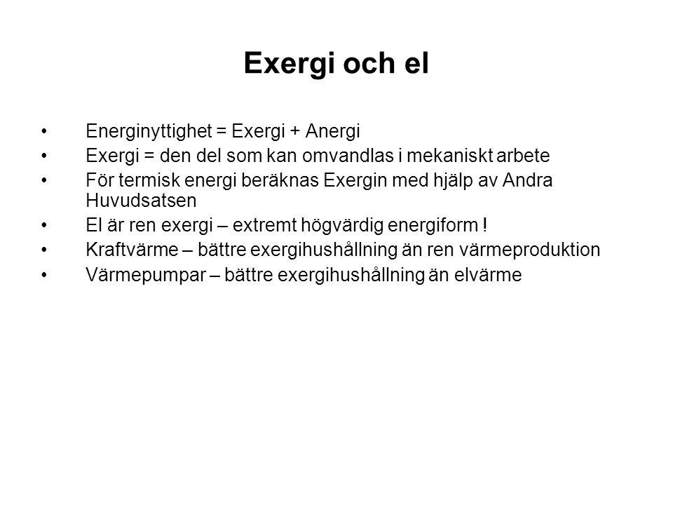 Exergi och el Energinyttighet = Exergi + Anergi