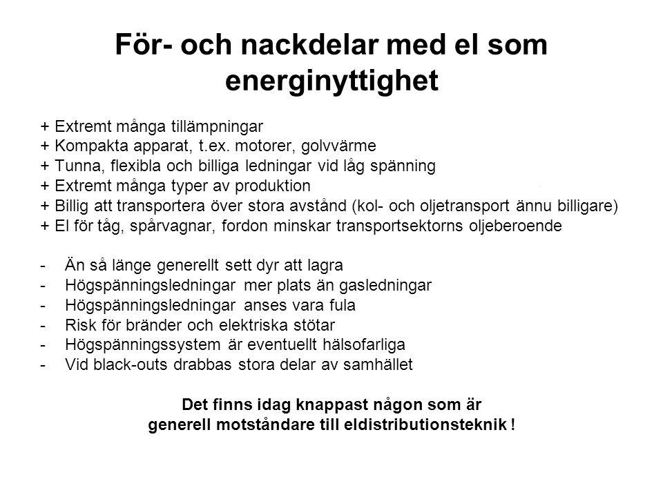 För- och nackdelar med el som energinyttighet
