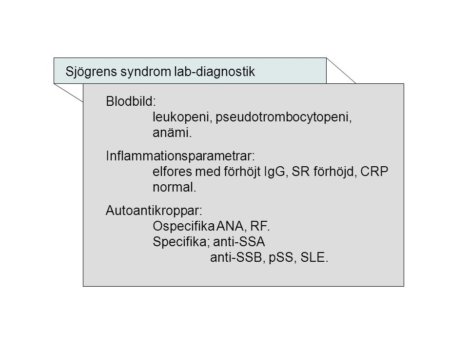 Sjögrens syndrom lab-diagnostik