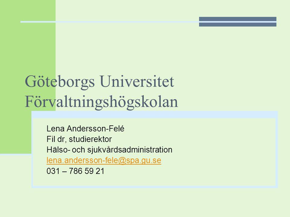 Göteborgs Universitet Förvaltningshögskolan