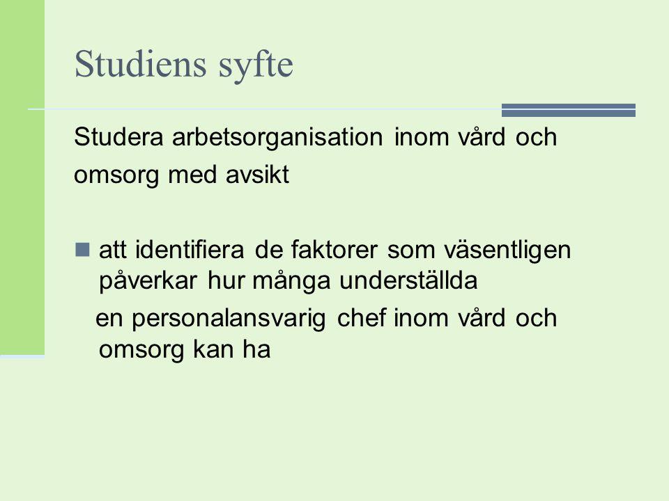 Studiens syfte Studera arbetsorganisation inom vård och