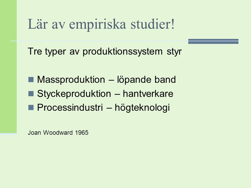 Lär av empiriska studier!